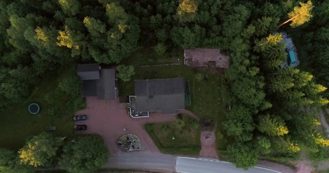 Detached house, Cinema 4k aerial view above a detached house, on the countryside, between golden fields and forests, on a sunny evening dawn, in Raasepori, Finland