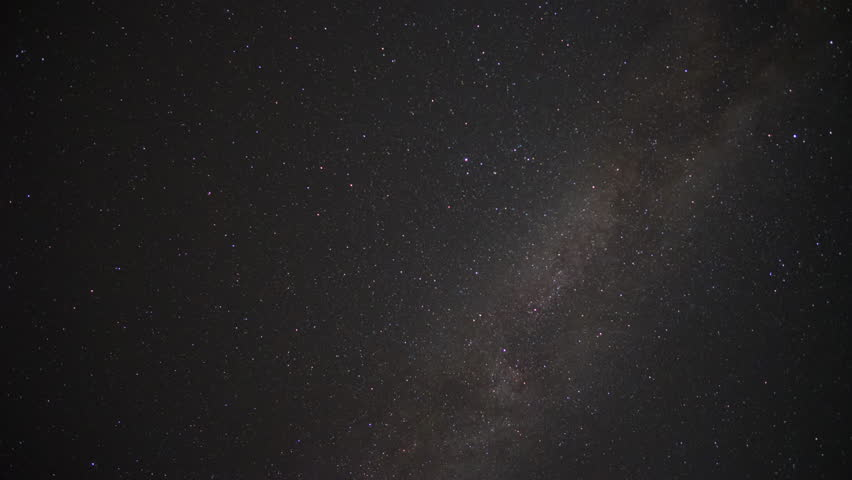 Star Time Lapse, Milky Way Galaxy Moving Across the Night Sky. Stars and Clouds
