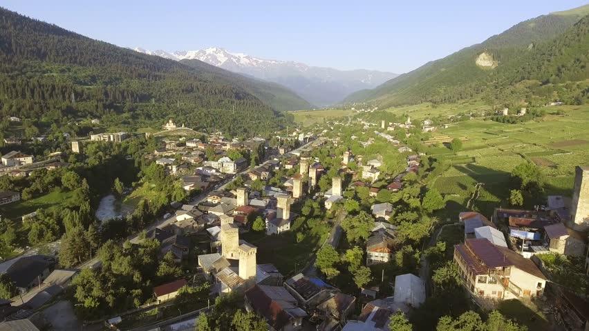 Svaneti Old village in Georgia. Medieval tower. Mestia