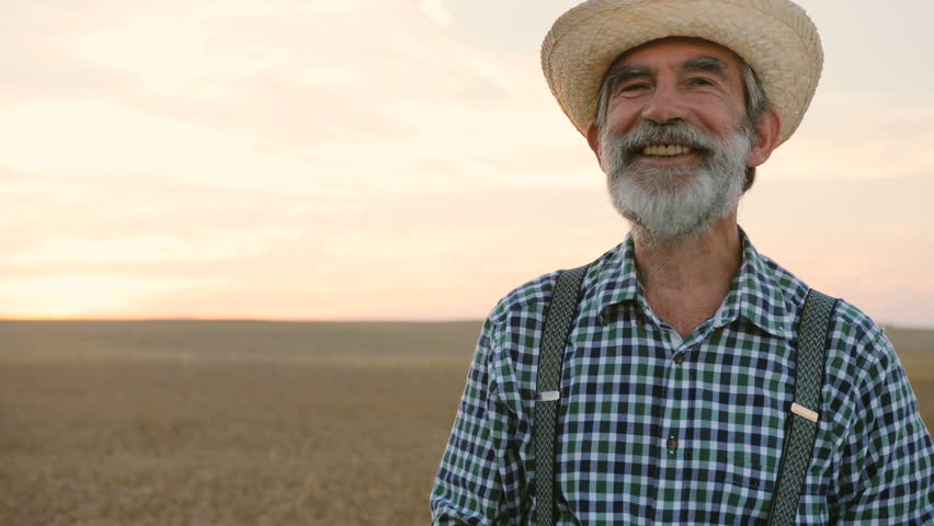 Close up portrait of old happy fermer with beard in the hat smiling in the golden field on the colorful sky background.