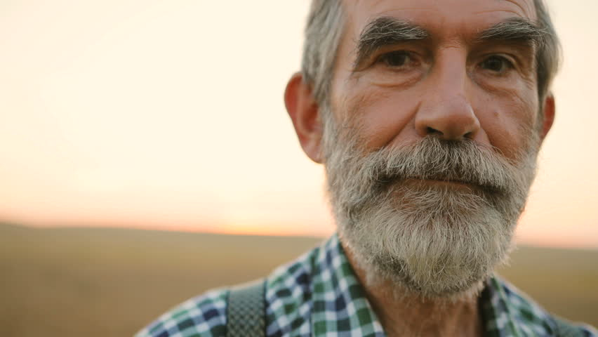 Close up portrait of senior man with beard looking to the camera in the golden field on the sky background.
