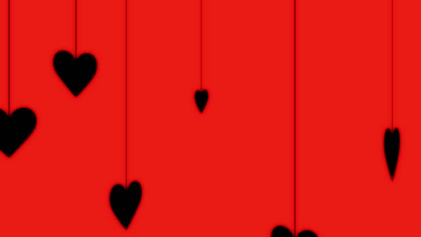 Hearts Hanging from Strings [Black on Red] Background