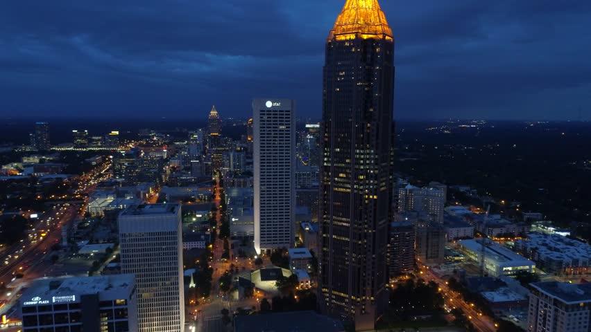 ATLANTA, GA, USA - AUGUST 4, 2017: Drone video Bank of America Financial Center Atlanta Georgia