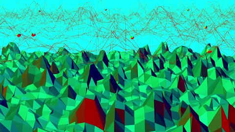 Green low poly background waving. Abstract low poly surface as space background in stylish low poly design. Polygonal mosaic background with vertex, spikes. Cartoon modern 3D design. Free space