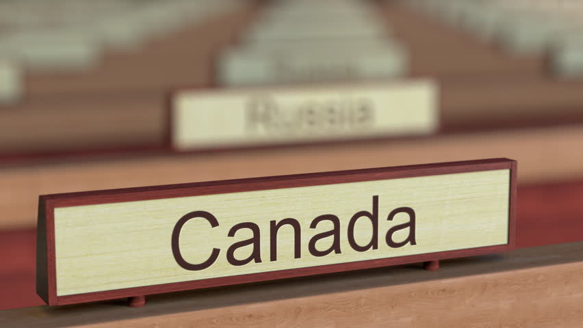 Canada name sign among different countries plaques at international organization. 3D rendering