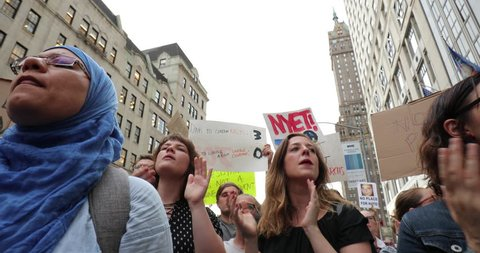 NEW YORK - AUGUST 14, 2017: Anti Trump protestors near Trump Tower