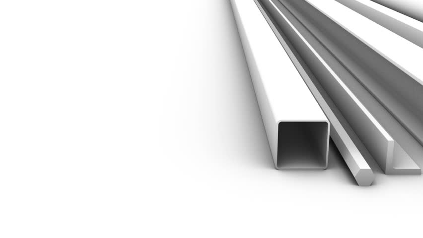 Steel products for construction on a white background. 3D render. | Shutterstock HD Video #29866021