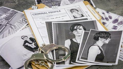 Girl drug dealers and criminal investigation. Folders, photos, documents.