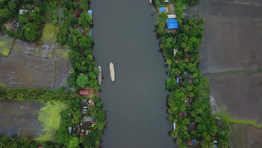 Aerial view / Bird's-eye view of a Boat Houses over the backwaters in Alleppey, Kerela - UHD 4K