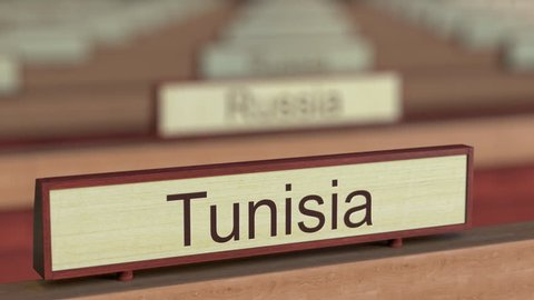 Tunisia name sign among different countries plaques at international organization. 3D rendering