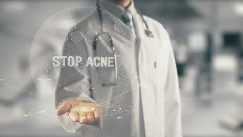 Doctor holding in hand Stop Acne | Shutterstock HD Video #29950141