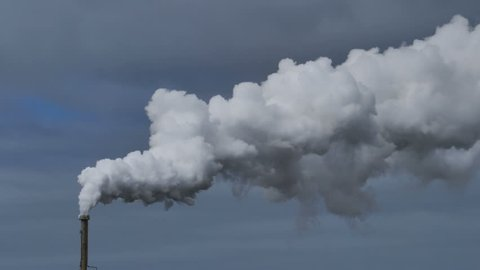 Billowing steam from smoke stack, Reykjanes Iceland super slow motion