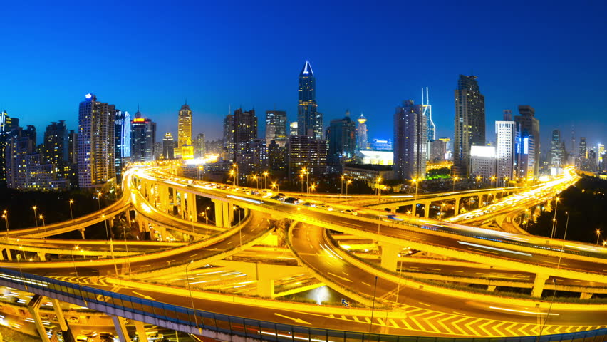 landscape of shanghai,big junction in city,time lapse