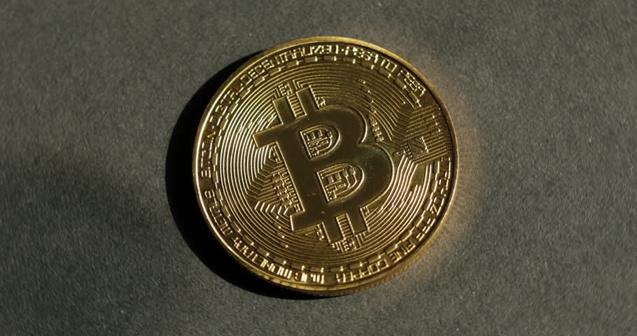Crypto Currency Gold Bitcoin Btc Bit Coin Macro Shots Coins Rotating
