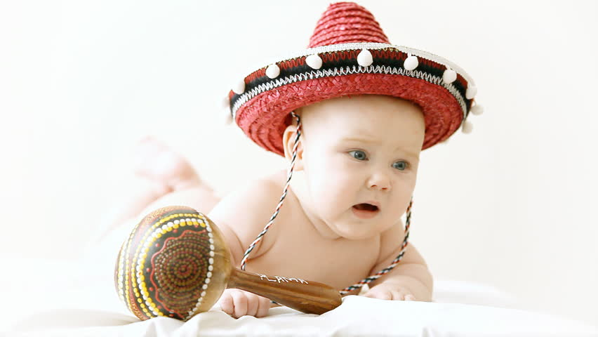Baby in Sombrero Hat with Stock Footage Video (100% Royalty-free) 2996941  a93398e48eb