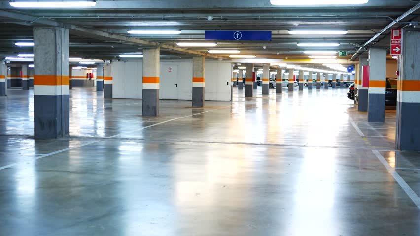 Parking garage underground, industrial interior, parking lanes