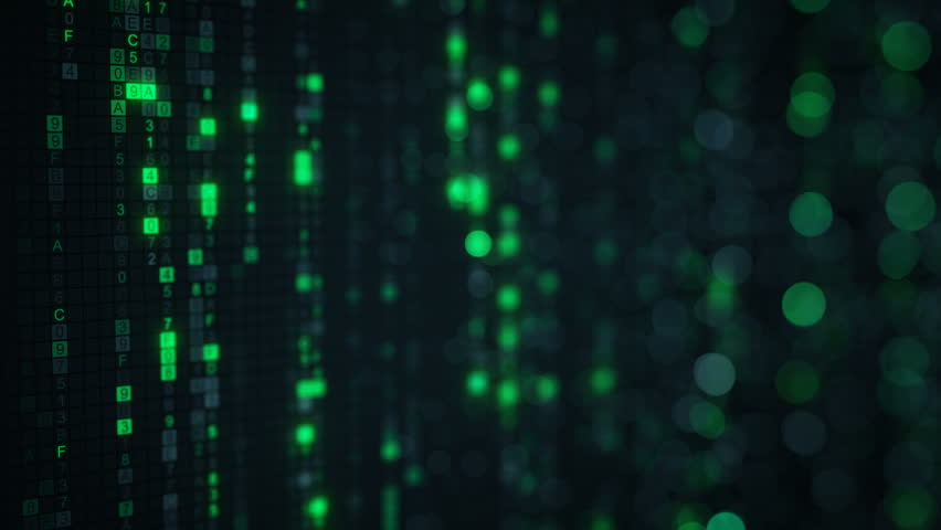 Green matrix rain of digital HEX code and bokeh on computer screen. Seamless loop abstract technology 3D animation rendered with DOF 4k (4096x2304) | Shutterstock HD Video #29994991