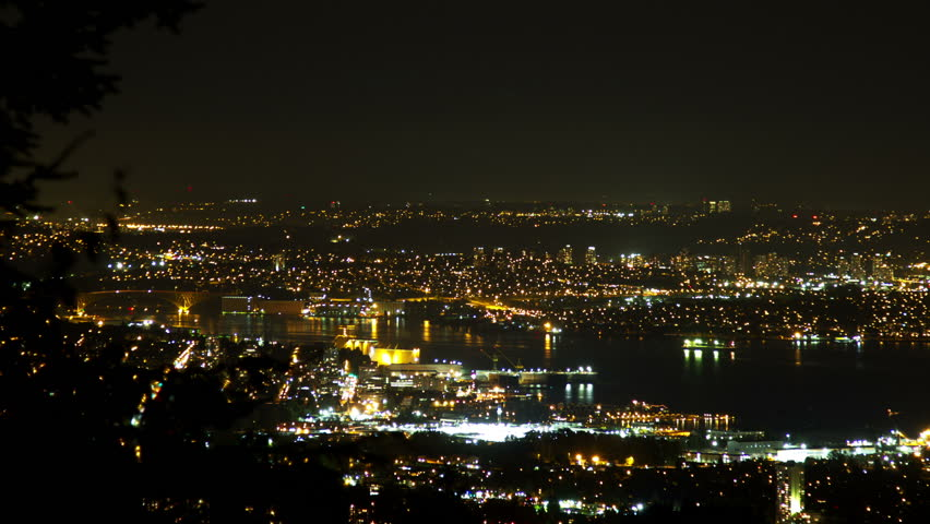 3 shots time lapse night view of Vancouver and City of Burnaby. Overlooking 2nd Narrow Bridge from a distance. Shot in 4k RAW photo sequence. | Shutterstock HD Video #3001351