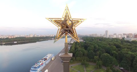 4K aerial video footage view of Moscow Northern river station and boat pier near Khimki, river Moscow, embankment and area around it on summer morning in capital of Russia