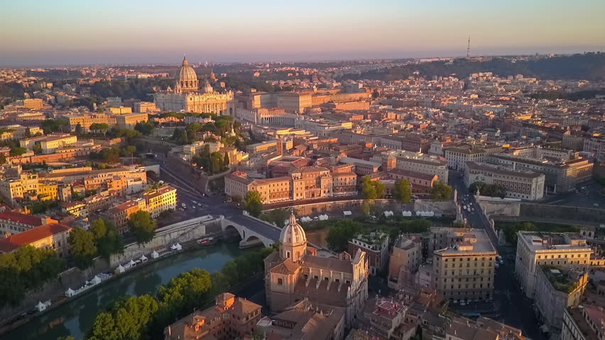 Rome aerial view at sunrise flying over vatican city | Shutterstock HD Video #30063013