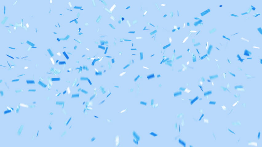SURPRISE! Blue confetti falls over a blue background. Loopable, ticker tape style confetti drifts from top to bottom and clears frame. Trending and modern colors. See portfolio for similar and more!