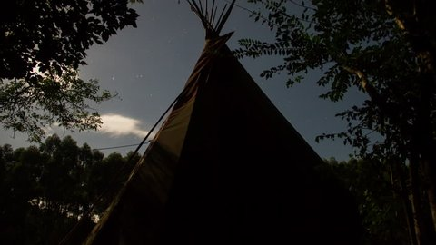 Teepee, Night Stars Time Lapse