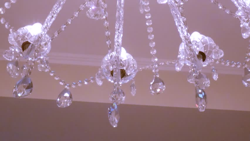 Cyclorama Under Luxurious Crystal Chandelier Stock Footage Video ...