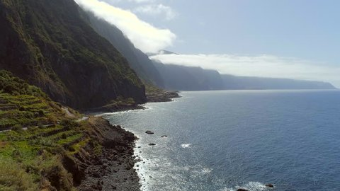 Aerial View of the Coastal Road of Madeira in the Late Afternoon