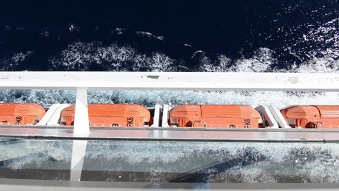 Lifeboat on the cruise ship while cruising in the Mediterranean sea