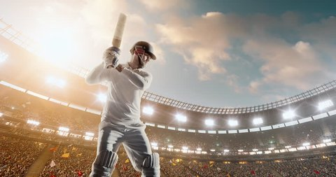 Cricket player in action on a professional cricket stadium. The player wears unbranded clothes. The stadium is made in 3D with no existing references.