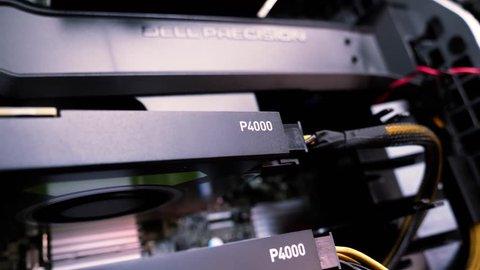 LONDON, UNITED KINGDOM - CIRCA 2017: Focus change from Nvidia Quadro p4000 to Dell precision workstation compuer memory shroud