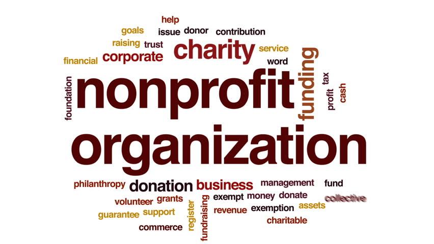 Nonprofit organization animated word cloud, text design animation.