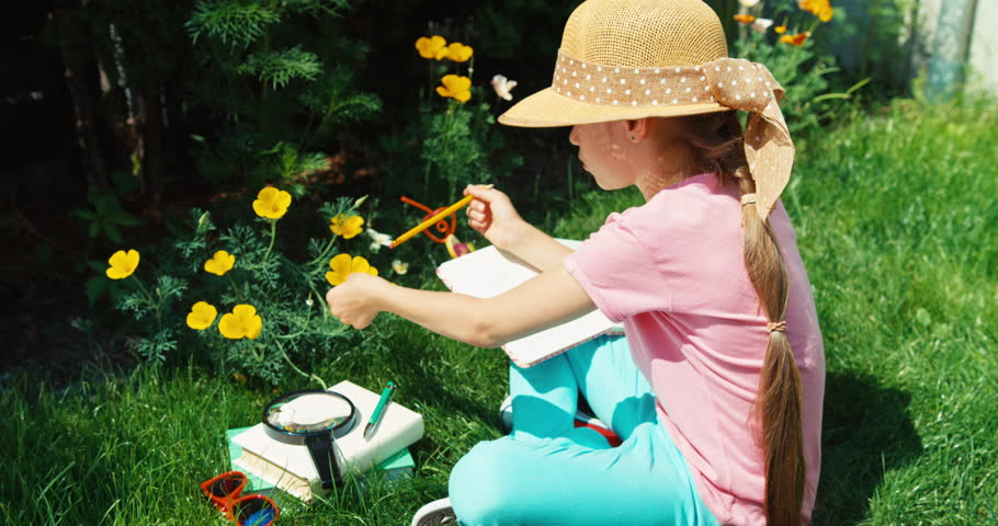 Young scientist girl investigate the yellow flower and something writing in notebook | Shutterstock HD Video #30166864
