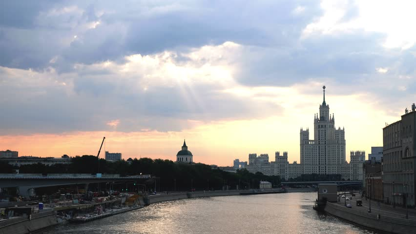 Moscow State University long distance view from the bridge across the Moskva river with sunshine morning light | Shutterstock HD Video #30183364