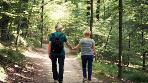 Senior, happy couple walking in the forest holding hands