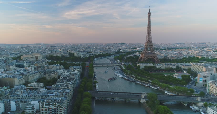 Paris Aerial Seine river Eiffel Tower sunset | Shutterstock HD Video #30222001
