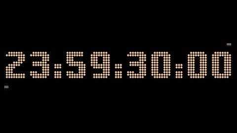 30 second Happy new year 2018 countdown in digital clock with Big number appear every second