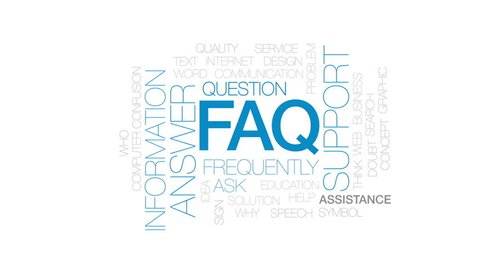 FAQ animated word cloud, text design animation. Kinetic typography.