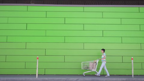 e45d2697bd28 Young woman carries cart with paper bags and watermelon outdoors. Girl  wearing trendy white jeans