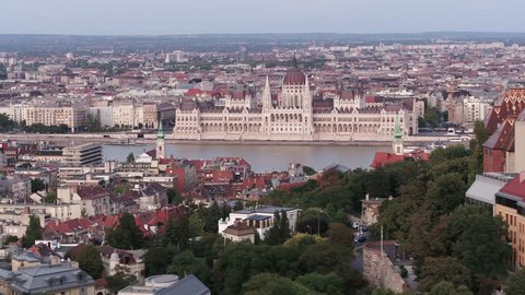 Aerial video shows the Parliament building overlooing the river Danube in central Budapest - drone footage