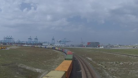 Maasvlakte Rotterdam havengebied The Netherlands August 2017 A train of containers leaves the APM container terminals on the Maasvlakte 2.