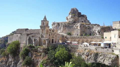 Panoramic view of typical Matera stones (Sassi di Matera). Matera in Italy is UNESCO World Heritage Site and European Capital of Culture 2019