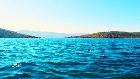 Beautiful Mediterranean landscape with Aegean sea and green hills in Bodrum, Turkey