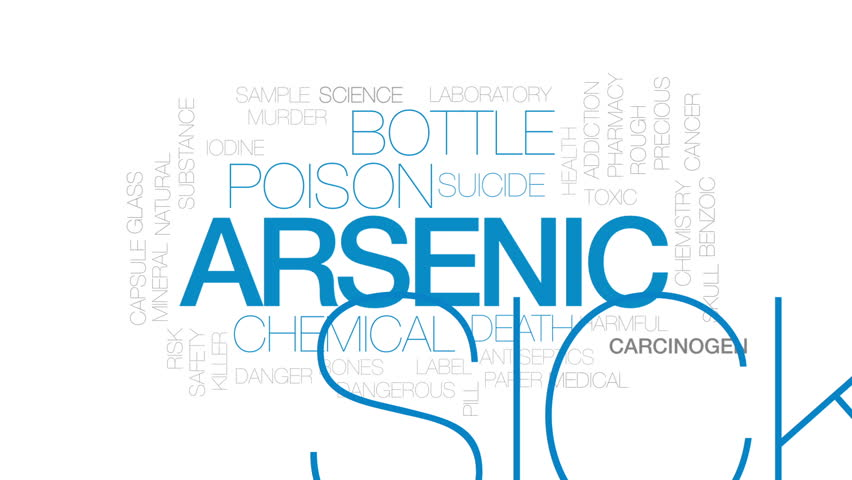 Arsenic animated word cloud, text design animation. Kinetic typography.