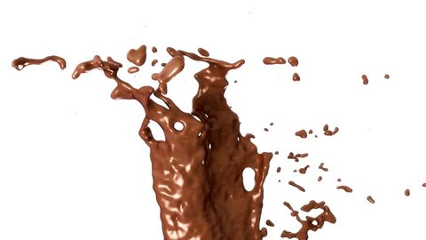 Hot chocolate or cocoa splashes with slow motion, alpha. 3d render. 3d animation