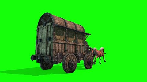 Carriage Horses Run Green Screen 3D Rendering Animation