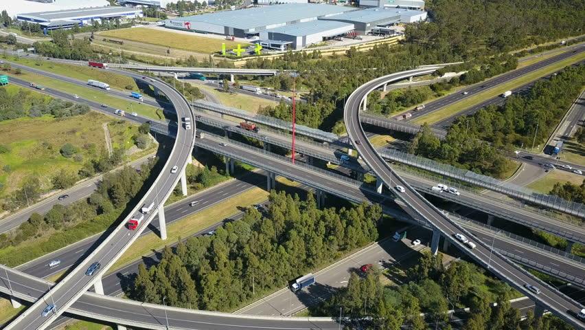 Sydney, Australia - May 10, 2017: 4k aerial video of highway traffic in Sydney | Shutterstock HD Video #30396346
