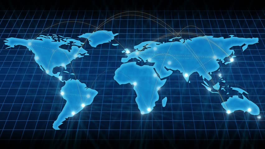 Growing global network across the world map. Internet and business concept. Blue version. 4k hd loop