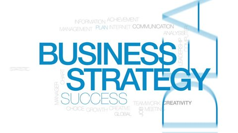 Business strategy animated word cloud, text design animation. Kinetic typography.