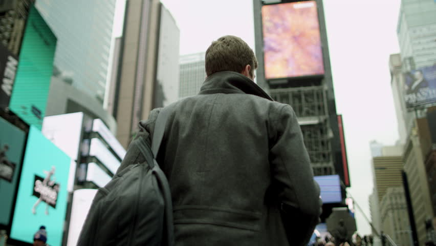 Joyful walk with a cup of tea on Times Square | Shutterstock HD Video #30436471